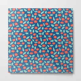 Ditsy Red Flowers on Blue Metal Print