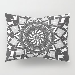 GREY, BLACK AND WHITE FLOWER OF LIFE Pillow Sham