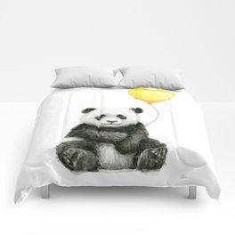 Panda with Yellow Balloon Baby Animal Watercolor Nursery Art Comforters