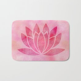Zen Watercolor Lotus Flower Yoga Symbol Bath Mat