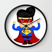 superhero Wall Clocks featuring Superhero by comodo777