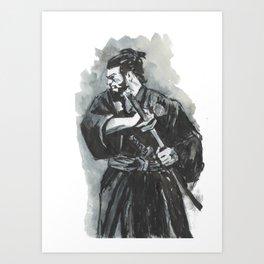 Black and white chinese Warrior Art Print