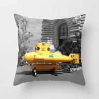 yellow submarine Throw Pillows featuring yellow submarine  by 33bc