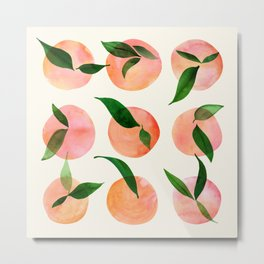 Abstract Orchard / Watercolor Fruit Metal Print