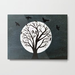 Peaceful Moon Night Gathering Metal Print