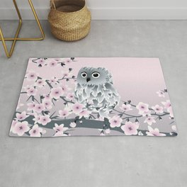 Cute Owl and Cherry Blossoms Pink Gray Rug