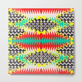 Tribal Beat Geo Neon Metal Print