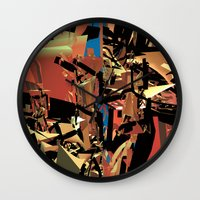nietzsche Wall Clocks featuring Nietzsche Walks Out At Bayreuth (The Theater of Noisea)  by Lanny Quarles