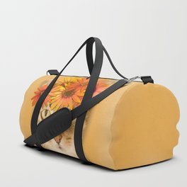 Tabby Cat with Daisy Flower Crown, Mustard Yellow Background Duffle Bag