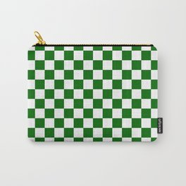 Small Checkered - White and Dark Green Carry-All Pouch
