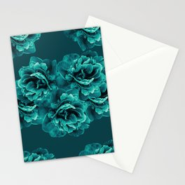 Turquoise Peony Flower Bouquet #1 #floral #decor #art #society6 Stationery Cards