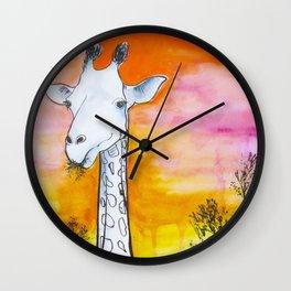 Hungry Sunset Giraffe Wall Clock