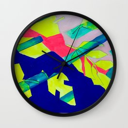 Neon Leaves Wall Clock