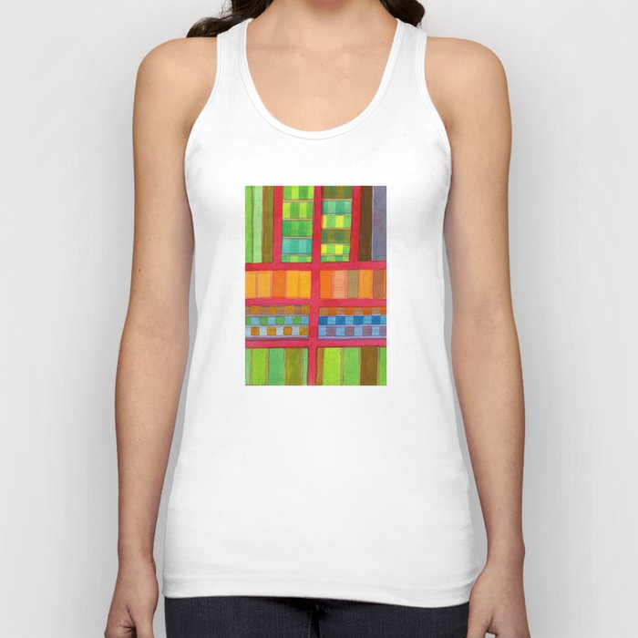Red Grid with Checks Pattern and vertical Stripes Unisex Tank Top