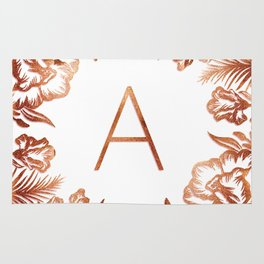 Letter A - Faux Rose Gold Glitter Flowers Rug