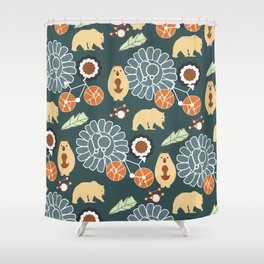 Bikes, bears and flowers Shower Curtain