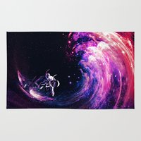 surfing Area & Throw Rugs featuring Space Surfing by nicebleed