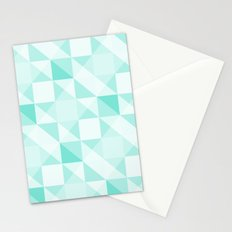 All Turquoise Triangle Pattern Stationery Cards