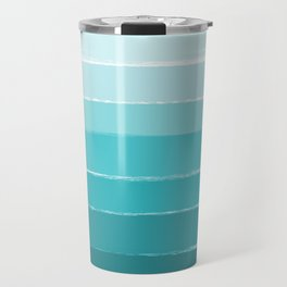 Sapote - painted abstract brushstrokes ombre blue colorful bright coastal decor dorm college Travel Mug