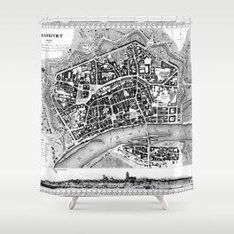 Vintage Map of Frankfurt Germany (1845) BW Shower Curtain