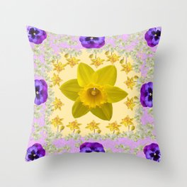 PURPLE PANSIES & DAFFODILS FLOWERS GARDEN MODERN ART Throw Pillow