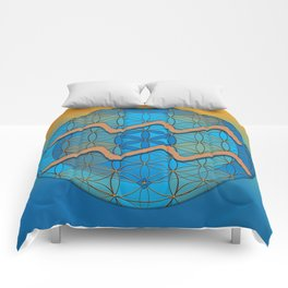Flower of Life AQUARIUS Astrology Design Comforters