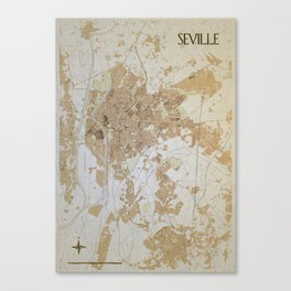 Seville retro map Canvas Print