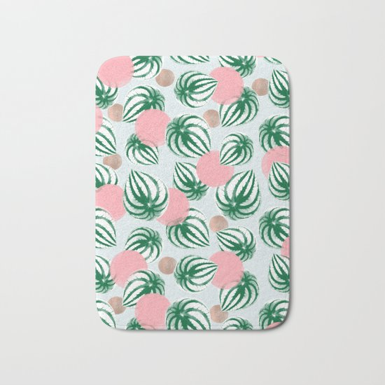 Watermelon Peperomia Pattern Bath Mat