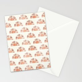 block print suns - multi colored terra cotta Stationery Cards