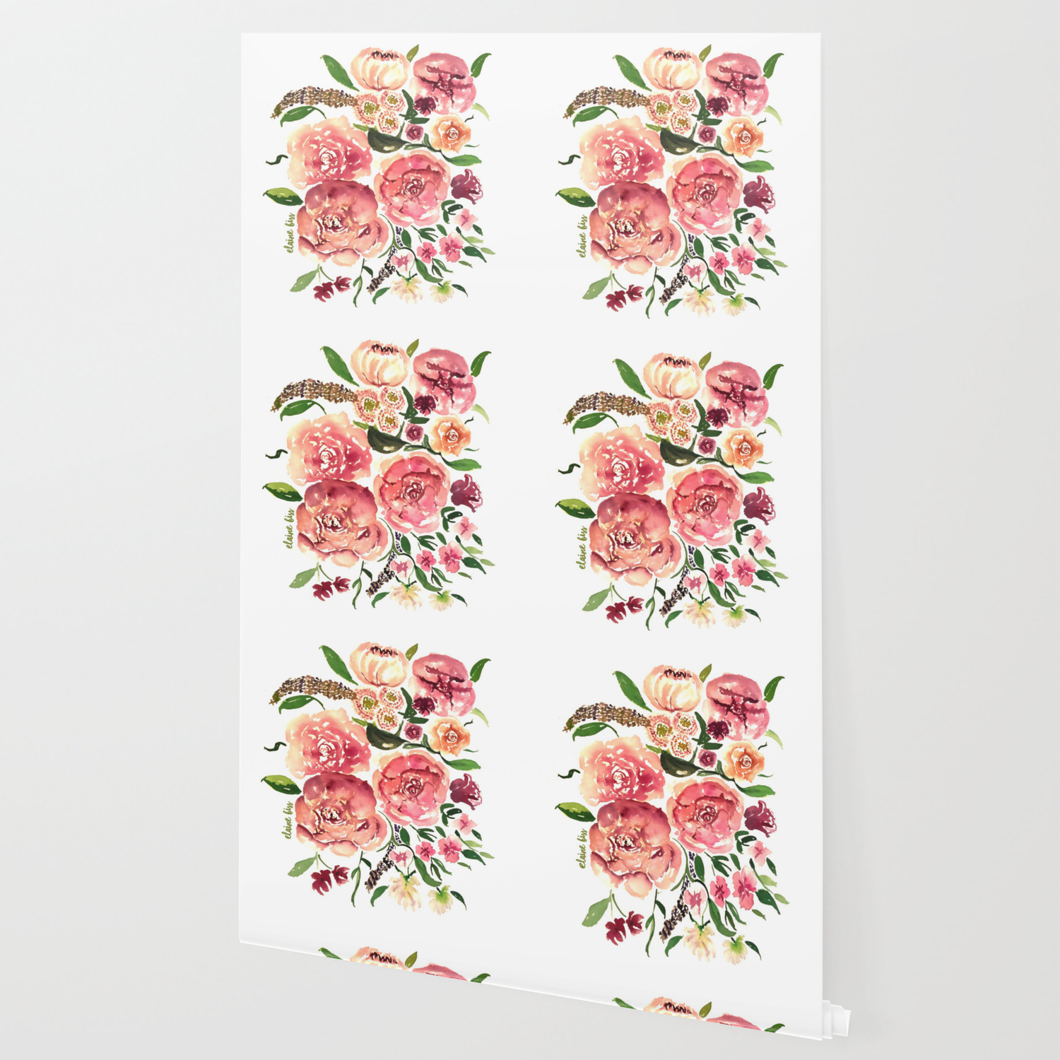 Peony Bouquet Floral Watercolor Illustration Wallpaper By