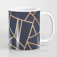 copper Mugs featuring Copper and Midnight Navy by Elisabeth Fredriksson