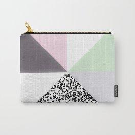Geometrical black confetti pastel color block Carry-All Pouch