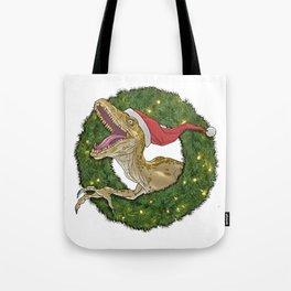 Velociraptor and Christmas Wreathe Tote Bag