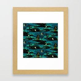 Halloween Night - Fox Fire Green Framed Art Print