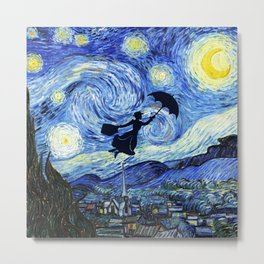 Mary Poppins Starry Night Metal Print