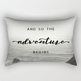 And So The Adventure Begins - Ocean Emotion Black and White Rectangular Pillow