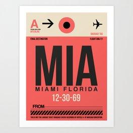 MIA Miami Luggage Tag 1 Art Print