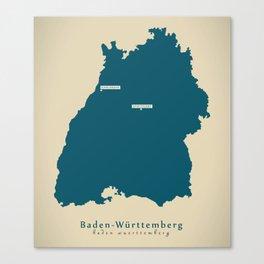 Modern Map - Baden-Wuerttemberg DE new design refreshed Canvas Print