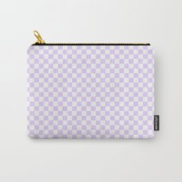 Chalky Pale Lilac Pastel Color and White Checkerboard Carry-All Pouch