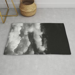 Clouds in black and white Rug