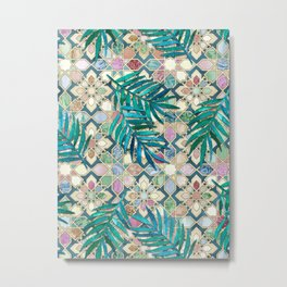 Muted Moroccan Mosaic Tiles with Palm Leaves Metal Print