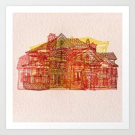 Letterpress Houses 3 Art Print