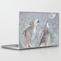wolves Laptop & iPad Skins featuring Wolves by Jen Hallbrown