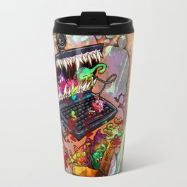 A Laptop Eating Multicolored Kittens Travel Mug