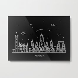 Kanpur Minimal Nightscape / Skyline Drawing Metal Print