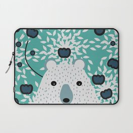 White bear in mint floral rain Laptop Sleeve