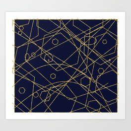 Geo Gold Blue Abstract Art Print