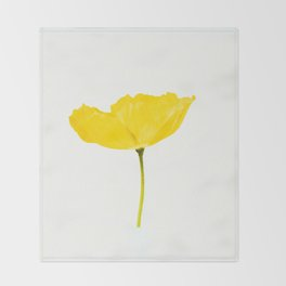 Yellow Poppy White Background #decor #society6 #buyart Throw Blanket