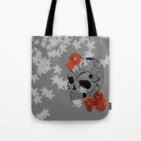 sugar skull Tote Bags featuring Sugar Skull by Tanya Thomas