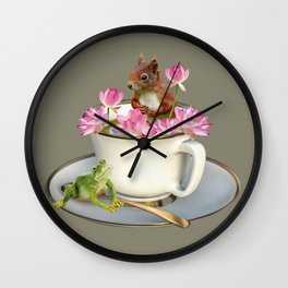 Coffee Cup with Squirrel & Frog pink Lotus Flowers Wall Clock
